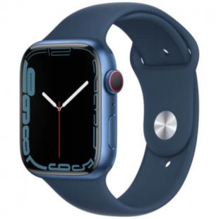 Apple Watch Series 7 GPS, 45mm Blue Aluminum Case with Blue Sport Band MKN83