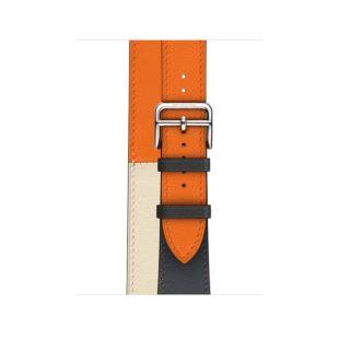 Apple Watch Hermes 40mm Indigo/Craie/Orange Swift Leather Double Tour MTQ42 [Hermes Indigo/Craie/Orange]