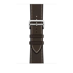 Apple Watch Hermes 44mm Ebene Barenia Leather Single Tour Deployment Buckle MTQG2 [Hermes Ebene]