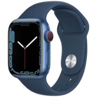 Apple Watch Series 7 GPS, 41mm Blue Aluminum Case with Blue Sport Band MKN13