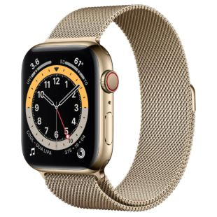 Apple Watch Series 6 GPS + Cellular, 44mm Gold Stainless Steel Case with Gold Milanese Loop M07P3 / M09G3