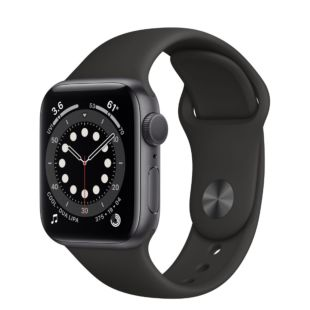 Apple Watch Series 6 GPS, 40mm Space Gray Aluminum Case with Black Sport Band MG133 / MTP62