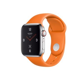 Apple Watch Hermes GPS + Cellular, 40mm Stainless Steel Case with Orange Sport Band MUFY2