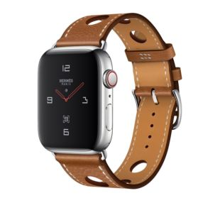 Apple Watch Hermes GPS + Cellular, 44mm Stainless Steel Case with Fauve Grained Barenia Leather Single Tour Rallye MU9D2