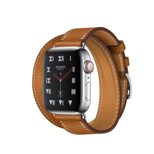 Apple Watch Hermes GPS + Cellular, 40mm Stainless Steel Case with Fauve Barenia Leather Double Tour MU6P2