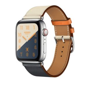 Apple Watch Hermes GPS + Cellular, 44mm Stainless Steel Case with Indigo/Craie/Orange Swift Leather Single Tour MU6X2