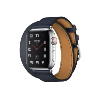 Apple Watch Hermes GPS + Cellular, 40mm Stainless Steel Case with Bleu Indigo Swift Leather Double Tour MU6Q2