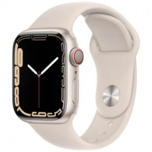 Apple Watch Series 7 GPS, 41mm Starlight Aluminum Case with Starlight Sport Band MKMY3