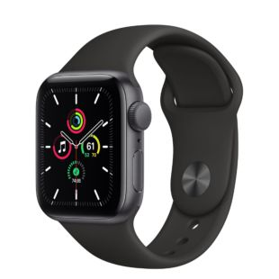 Apple Watch SE GPS, 40mm Space Gray Aluminum Case with Black Sport Band MYDP2 / MTP62