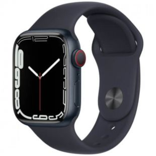 Apple Watch Series 7 GPS + Cellular, 41mm Midnight Aluminum Case with Green Sport Band