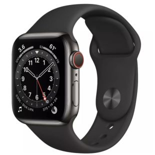 Apple Watch Series 6 GPS + Cellular, 40mm Graphite Stainless Steel Case with Black Sport Band M02Y3 / M06X3