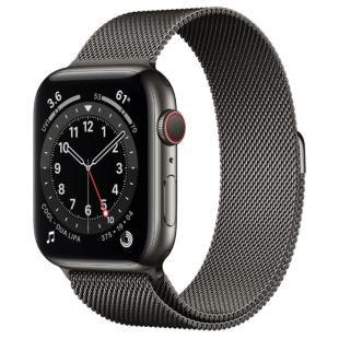 Apple Watch Series 6 GPS + Cellular, 44mm Graphite Stainless Steel Case with Graphite Milanese Loop M07R3 / M09J3