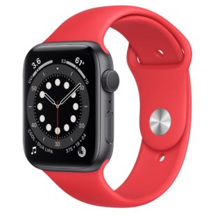 Apple Watch Series 6 GPS + Cellular, 44mm Space Gray Aluminum Case with Red Sport Band M0G83 / MYAV2