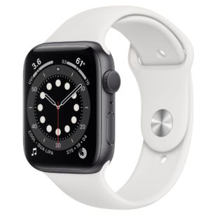 Apple Watch Series 6 GPS + Cellular, 44mm Space Gray Aluminum Case with White Sport Band M0G83 / MTPK2