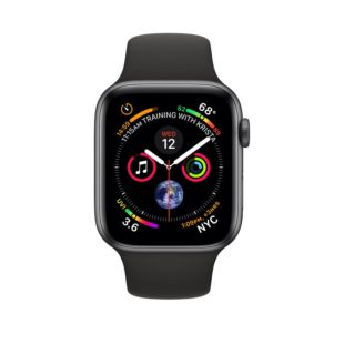 Apple Watch Series 4 GPS + Cellular 44mm Space Gray Aluminum Case with Black Sport Band MTVU2