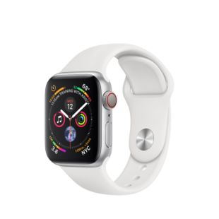 Apple Watch Series 4 GPS + Cellular 40mm Silver Aluminum Case with White Sport Band MTVA2