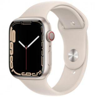 Apple Watch Series 7 GPS, 45mm Starlight Aluminum Case with Starlight Sport Band MKN63