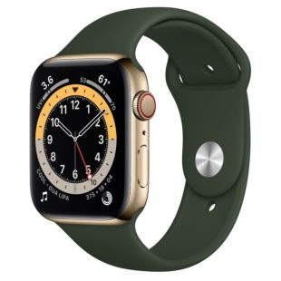 Apple Watch Series 6 GPS + Cellular, 44mm Gold Stainless Steel Case with Cyprus Green Sport Band M09F3 / M07N3
