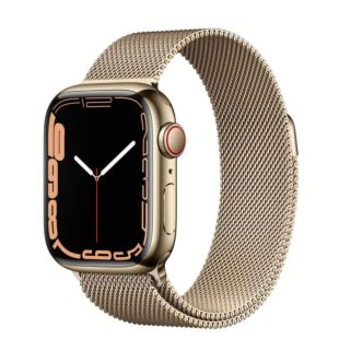 Apple Watch Series 7 GPS + Cellular, 41mm Gold Stainless Steel Case with Gold Milanese Loop MKHH3/MKJ03