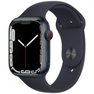 Apple Watch Series 7 GPS, 45mm Midnight Aluminum Case with Green Sport Band MKN53