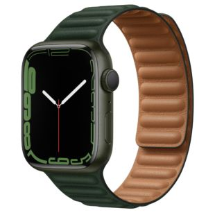 Apple Watch Series 7 GPS, 45mm Green Aluminum Case with Sequoia Green Leather Link M/L, MKNQ3